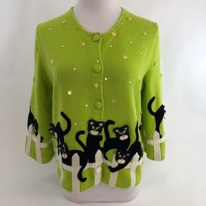 Michael Simon Cardigan Sweater - Black Cat Motif